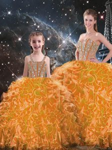 Clearance Orange Organza Lace Up Quince Ball Gowns Sleeveless Floor Length Beading and Ruffles