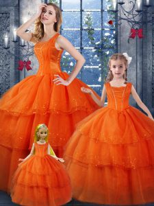 Orange Red Ball Gowns Straps Sleeveless Organza Floor Length Lace Up Ruffled Layers Sweet 16 Dresses