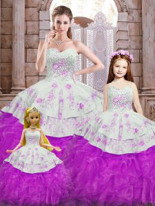 Superior Sweetheart Sleeveless Organza 15 Quinceanera Dress Beading and Appliques and Ruffles Lace Up