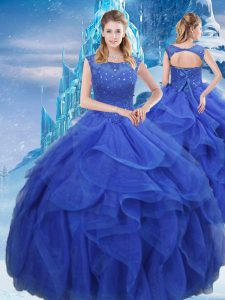 Royal Blue Sleeveless Floor Length Ruffles and Sequins Lace Up Ball Gown Prom Dress