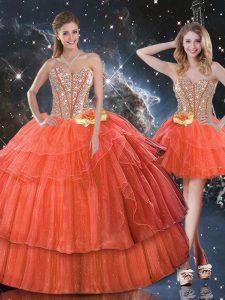 Sleeveless Lace Up Floor Length Ruffled Layers and Sequins Quinceanera Gown