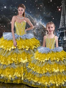 Exquisite Floor Length Lace Up Vestidos de Quinceanera Multi-color for Military Ball and Sweet 16 and Quinceanera with Beading and Ruffles