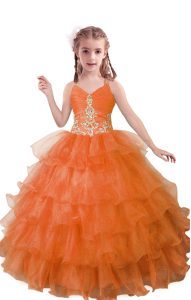 Floor Length Orange Red Glitz Pageant Dress Organza Sleeveless Beading and Ruffled Layers