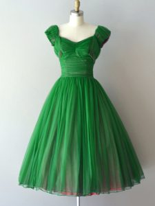 Chiffon Lace Up Quinceanera Court Dresses Short Sleeves Knee Length Ruching