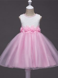 Baby Pink Zipper Scoop Lace and Hand Made Flower Kids Formal Wear Tulle Sleeveless