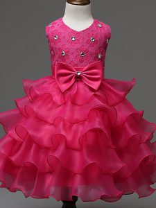 Sleeveless Knee Length Lace and Ruffled Layers and Bowknot Zipper Girls Pageant Dresses with Hot Pink