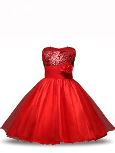Scoop Sleeveless Zipper Little Girls Pageant Dress Wholesale Red Organza