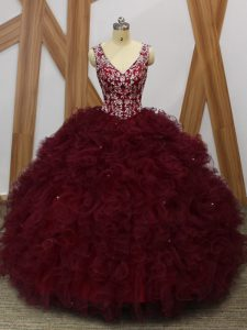 Exquisite Floor Length Burgundy 15 Quinceanera Dress Organza Sleeveless Beading and Ruffles