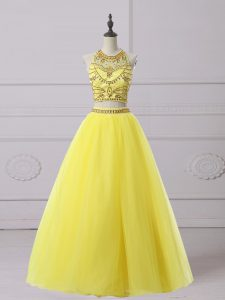 Custom Fit Floor Length Backless Prom Gown Yellow and In with Beading