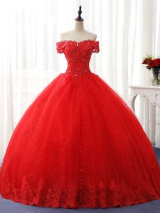 Customized Floor Length Red Sweet 16 Dress Off The Shoulder Sleeveless Lace Up