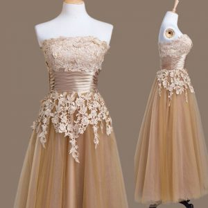 Fantastic Strapless Sleeveless Tulle Dama Dress Appliques Lace Up