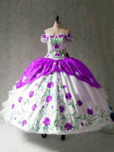Off The Shoulder Cap Sleeves Lace Up 15th Birthday Dress White And Purple Organza and Taffeta