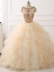 Champagne Lace Up Scoop Beading and Ruffles Sweet 16 Dresses Organza Sleeveless Sweep Train