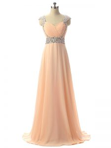 Chiffon Cap Sleeves Floor Length Evening Dresses and Beading