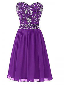 Beautiful Chiffon Sleeveless Knee Length Homecoming Dress and Beading