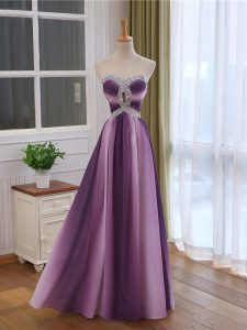 Sophisticated Multi-color Chiffon and Printed Lace Up Prom Dresses Sleeveless Beading and Ruching