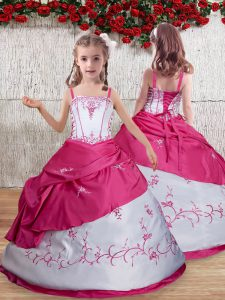 Beautiful Sleeveless Lace Up Floor Length Embroidery Kids Pageant Dress
