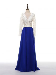 Blue And White Zipper V-neck Lace and Appliques Evening Dress Chiffon Long Sleeves