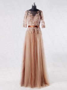 New Style Brown Tulle Zipper Scoop Half Sleeves Floor Length Lace and Appliques