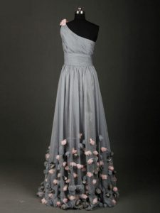 Sweet Grey A-line One Shoulder Sleeveless Chiffon Floor Length Backless Pleated and Belt and Hand Made Flower