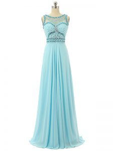 Clearance Chiffon Sleeveless Floor Length Dress for Prom and Beading