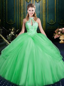 Fashionable Green Sleeveless Floor Length Beading and Pick Ups Lace Up Quince Ball Gowns