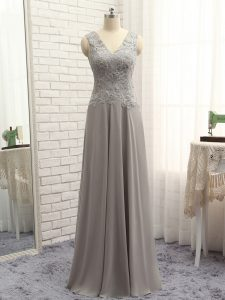 Best Grey Prom and Party and Beach with Lace and Appliques V-neck Sleeveless Zipper