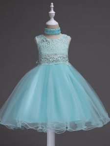 Aqua Blue Ball Gowns Organza Scoop Sleeveless Beading and Lace Knee Length Zipper Little Girl Pageant Dress