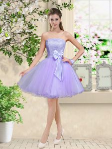 Attractive Sleeveless Lace and Belt Lace Up Quinceanera Dama Dress