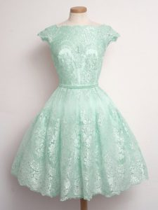 Pretty Knee Length Lace Up Court Dresses for Sweet 16 Apple Green for Prom and Party and Wedding Party with Lace