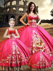 Sweet Floor Length Ball Gowns Sleeveless Hot Pink Sweet 16 Quinceanera Dress Lace Up