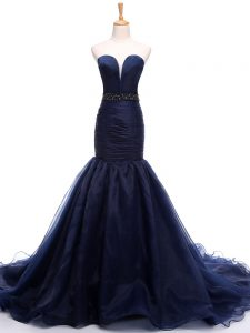 Court Train Mermaid Pageant Dress for Teens Navy Blue Sweetheart Tulle Sleeveless Lace Up