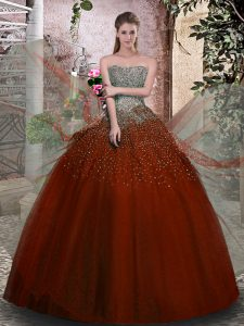 Glamorous Rust Red Ball Gowns Strapless Sleeveless Tulle Floor Length Lace Up Beading Quinceanera Dresses