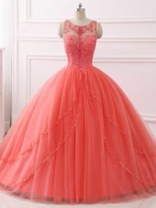 Traditional Beading and Lace Sweet 16 Dress Coral Red Lace Up Sleeveless Brush Train