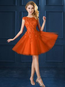 Cap Sleeves Tulle Knee Length Lace Up Court Dresses for Sweet 16 in Orange Red with Lace and Belt