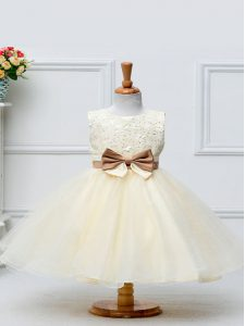 Stunning Tulle Scoop Sleeveless Zipper Lace and Bowknot Child Pageant Dress in Champagne
