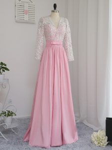 Baby Pink Long Sleeves Beading Floor Length Prom Evening Gown