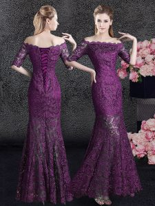 Mermaid Off the Shoulder Half Sleeves Floor Length Lace Lace Up Evening Dress with Purple