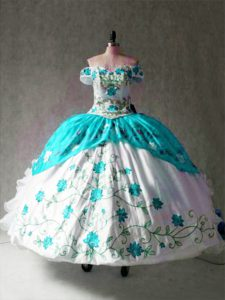 Cap Sleeves Embroidery and Ruffles Lace Up 15th Birthday Dress