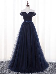 Tulle Off The Shoulder Sleeveless Lace Up Belt Quinceanera Court of Honor Dress in Navy Blue