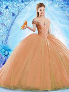 Ball Gowns Sleeveless Orange 15 Quinceanera Dress Brush Train Lace Up