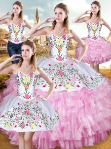 Rose Pink Sleeveless Floor Length Embroidery and Ruffled Layers Lace Up Quinceanera Gowns