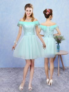Tulle Cap Sleeves Mini Length Quinceanera Court of Honor Dress and Lace