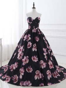 Admirable Multi-color Ball Gowns Sweetheart Sleeveless Printed Brush Train Lace Up Ruching Custom Made Pageant Dress