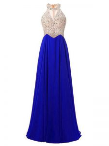 Flare Sleeveless Chiffon Floor Length Zipper Evening Dress in Royal Blue with Beading