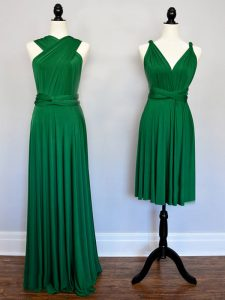 Best Selling Dark Green Quinceanera Dama Dress Prom and Party and Wedding Party with Ruching Halter Top Sleeveless Lace Up