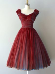 Cap Sleeves Ruching Lace Up Quinceanera Court Dresses