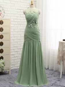 Flare Olive Green Prom Gown Prom and Party and Military Ball with Ruching and Hand Made Flower Scoop Sleeveless Brush Train Zipper