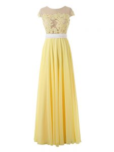 Sumptuous Organza Scoop Sleeveless Side Zipper Lace and Appliques Prom Dresses in Yellow