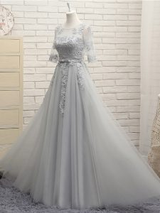 High Quality Half Sleeves Floor Length Appliques Lace Up Damas Dress with Grey